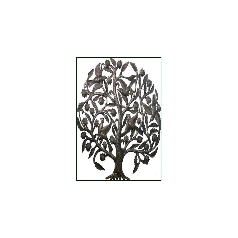 Tree with Birds Metal Wall Sculpture   Haitian Steel Drum Art   24 x 34