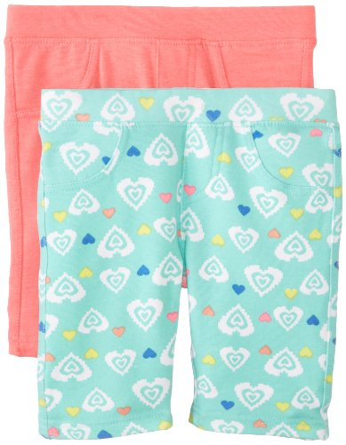 Freestyle Revolution Little Girls' French Terry Bermuda 2 Pack Set Print Solid, Heart Aztec Print/Coral, 5 front-921011