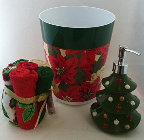 Christmas Poinsettia Bathroom Set Holiday