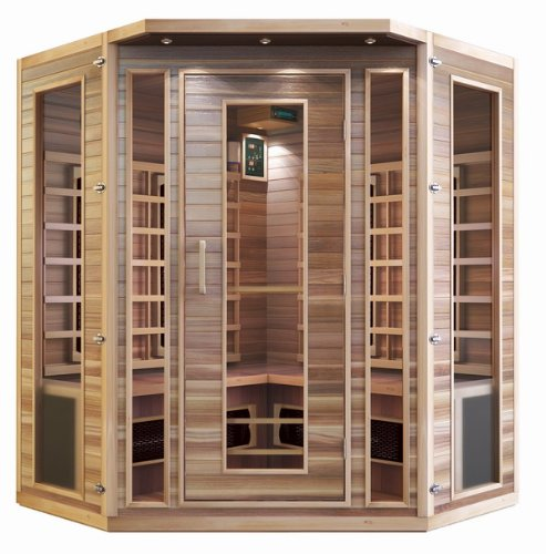 Precision Therapy Cedar 3-4 Person Corner Ceramic Heater Far Infrared Sauna ETL Approved