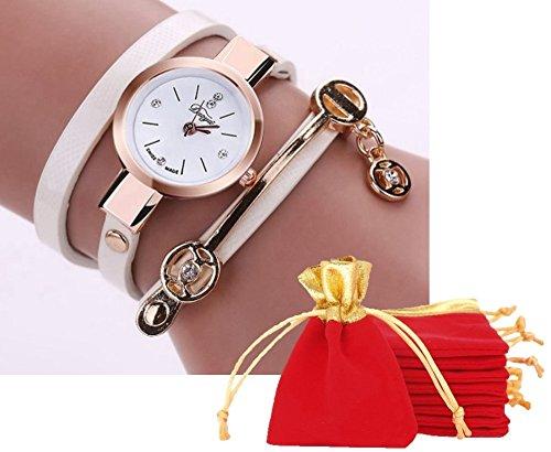 NdB 1384 - [BRAC BIANCO] Bracciale Orologio Donna da Polso - Con cinturino regolabile a 3 Clip - Quarzo - In Sacchetto vellutato Rosso e Oro - Regalo perfetto