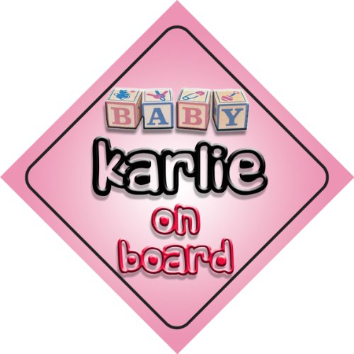 Karlie on board baby Girl auto a forma di cartello regalo per bambini e neonati