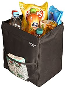 Car Garbage Can - Auto Trash Bin Sturdy X-Large Storage Place Car Trash Can and Organizer by DELIGHT4LIFE: Waterproof Liner Front Mesh Pocket Hanging Front Back Seat or Stand on the Floor Garbage Bag