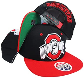 Ohio State Buckeyes Black Red Plastic Adjustable Snapback Hat Cap by Zephyr