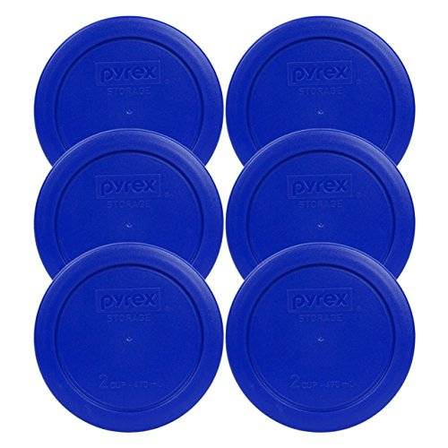 6 Pack! Pyrex Light Blue 2 Cup Round Storage Cover Item Number 7200-PC for Glass Bowls - True Blue Replacement Lid for Pyrex 2 Cup Bowls