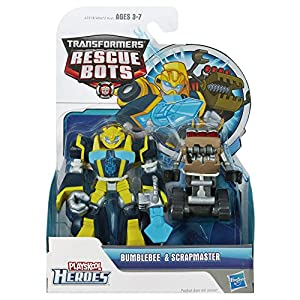 Transformers Rescue Bots Energize Playskool Heroes Action Figure Bumblebee & Scrapmaster
