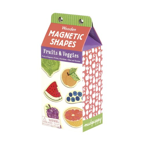 Mudpuppy Fruits & Veggies Wooden Magnetic Shapes
