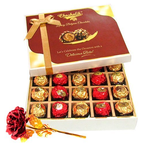 Valentine Chocholik's Belgium Chocolates - Charming Collection Of Wrapped Chocolate Box With 24k Red Gold Rose