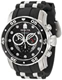 Invicta Pro Diver Men's Quartz Watch with Black Dial Chronograph Display and Black PU Strap in Stainless Steel Case 6977