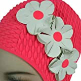 Luxury Divas Pink W/White Flowers Vintage Style Latex Swim Bathing Cap