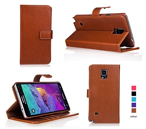 Bear Motion for Note 4 - Premium Folio Wallet Case Cover with Hard PC Inner Case for Galaxy Note 4 - Brown (Bear Wallet compare prices)