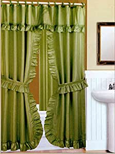Double Swag Fabric Shower Curtain Liner Rings Dobby Dot Design Peridot