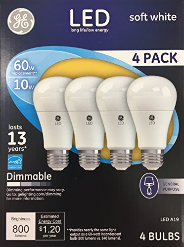 GE LED Light Bulbs 10 Watt (60 Watt Equivalent) Soft White Dimmable 4-Pack (Flourescent Bulbs Dimmable compare prices)