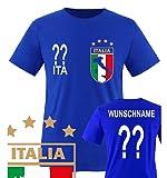 Comedy Shirts - WM 2014 - ITALIEN - VORNE und HINTEN - WUNSCH - Kinder T-Shirt - Royalblau Gr. 134-146