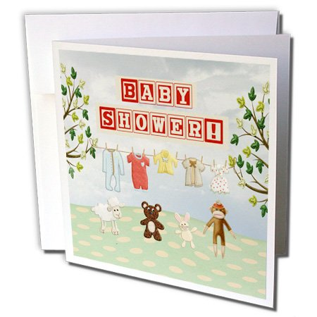 Gc_192561_2 Beverly Turner Baby Stuff Design - Clothline Of Baby Clothes, Two Trees With Animals, Baby Shower - Greeting Cards-12 Greeting Cards With Envelopes front-57645