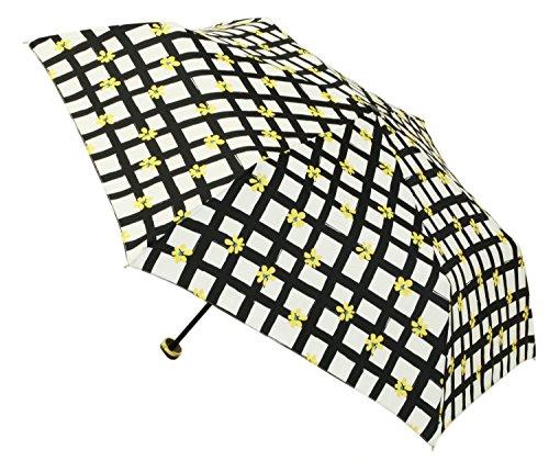 【晴雨兼用】 折りたたみ傘 トートバッグ型ケース付 チェックフラワー ミニ (tote) 50cm ブラック 315-105