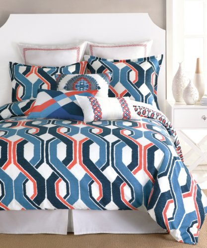 Trina Turk 3-Piece Coastline Ikat Duvet Set, Queen, Blue/Coral back-949878