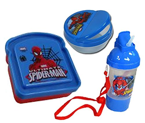 Ultimate Spider-man Boys 3pc Lunch Set! Includes: Sandwich Box, Snack Container & Rock & Sip Canteen! (Rock Container compare prices)