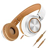 Headphones,AILIHEN C8 Lightweight Foldable Headphones with Microphone and Volume Control for iPhone,iPad,iPod,Android Smartphones,PC,Laptop,Mac,Tablet,Headphone Headset for Music Gaming(White/Brown)