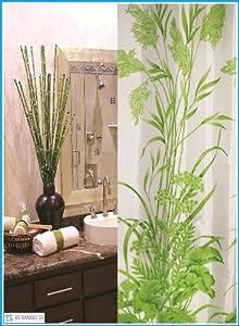 textile rideau de douche feuille motif blanche vert 240 x 180 CM bagues de douche inclue 240x180 cm!