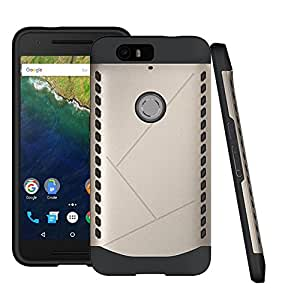 Nexus 6P Case ,Leevin(TM) Slim Armor Dual Layer Bumper Cover TPU PC Hybrid Protective Case for Huawei Nexus 6P / Google Nexus 6P (Armor Golden)