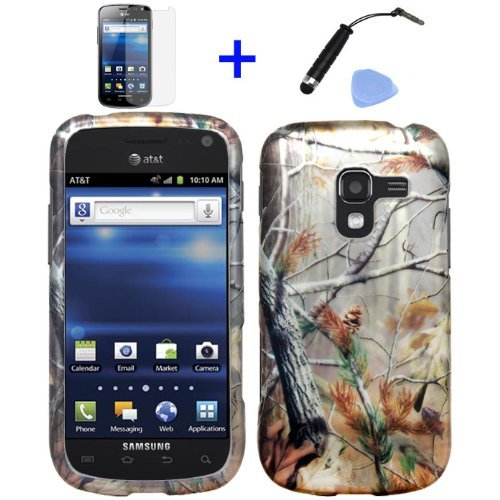 4 Items Combo: Mini Stylus Pen + Lcd Screen Protector Film + Case Opener + Pine Tree Leaves Camouflage Outdoor Wildlife Design Rubberized Snap On Hard Shell Cover Faceplate Skin Phone Case For At&T Samsung Exhilarate I577