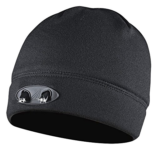 LED Beanie Hat - Super Comfortable and Warm - Stay Safe by Increasing Your Visibility - Hands Free - 4 Ultra Bright Lights - Huggabe LED Hat Brightens Your Path - Black (Adjustable Hard Hat Insert compare prices)