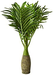 Fourwalls Synthetic Artificial Bonsai Palm Plant (8 Branches, Green, 35 cm)