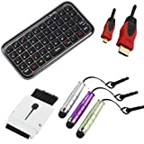 BIRUGEAR Bluetooth Wireless Mini Keyboard + 3 Mini Stylus + 15FT Micro HDMI Cable + Mini Brush for Google Nexus 10 ; Microsoft Surface 2, Surface with Windows RT ; Nokia Lumia 2520 ; Sony Vaio Tap 11 ; Dell Venue 11 Pro and Other Tablets / Cellphones