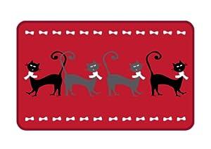 m l t212cat tapis rectangulaire anti derapant fond rouge motif chats 50 x 80 cm. Black Bedroom Furniture Sets. Home Design Ideas