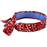 Ergodyne Chill-Its 6700CT Evaporative Cooling Bandana with Cooling Towel Material - Tie, Red Western