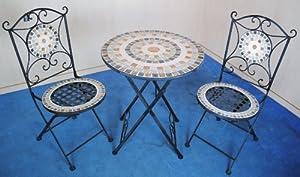Marvells Mediterranean Mosaic Garden Bistro Set of 3 30083