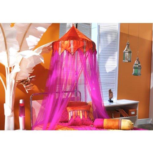 "Tangerine Orange & Fuschia Bed Canopy 96"" Drop"