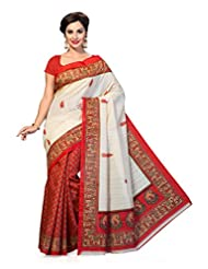 ISHIN Bhagalpuri Silk Red & Beige Printed Saree