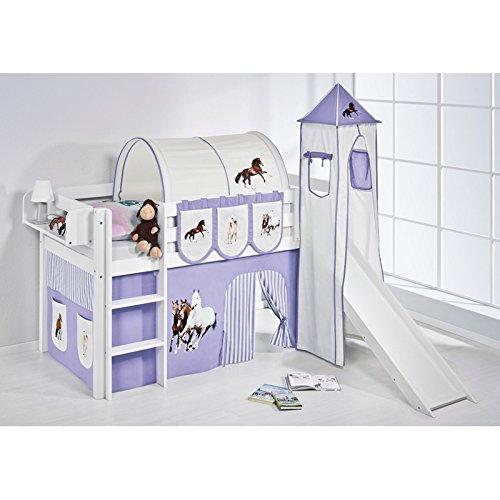 Hochbett Spielbett JELLE Pferde Lila Beige mit Turm, Rutsche und Vorhang, weiß online bestellen