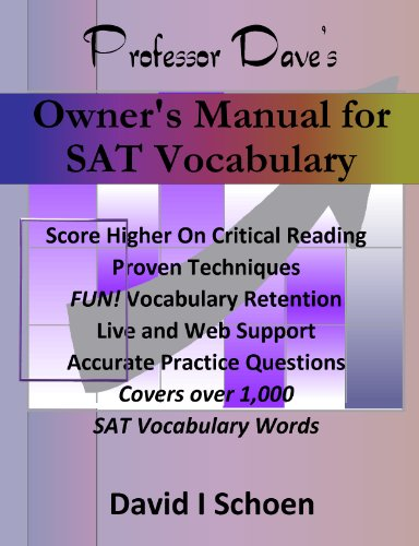 Professor Dave's Owner's Manual for SAT Vocabulary (Sat Vocabulary College Board compare prices)