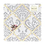 Yellow, Gray and White Damask Print Avery Fabric Memory/Memo Photo Bulletin Board for a Girl or Boy