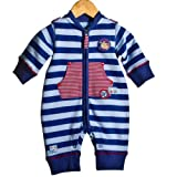 Adorable Luxury Zipped Baby Boys Striped Long Sleeve Blue Roadside Rescue Romper/Sleepsuit