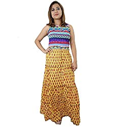 ShopMore Long Skirt(Yellow_Free-Size)