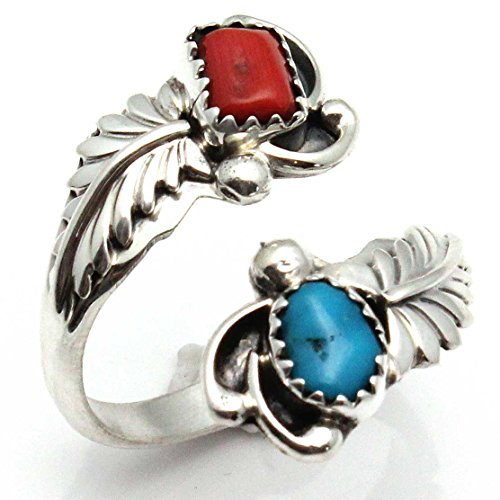 Adjustable Ring Featuring Turquoise & Coral (Coral Rings compare prices)