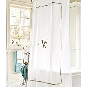 Amelie Embroidered Shower Curtain - Sandalwood 72