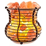 Crystal Allies Gallery: Natural Himalayan Salt Wire Mesh Basket Vase Lamp Air Purifier with Cord, Light Bulb & Authentic Crystal Allies Info Card