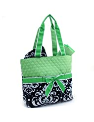 Quilted Green Damask Floral Print Diaper Bag Change Pad And Cosmetic Bag