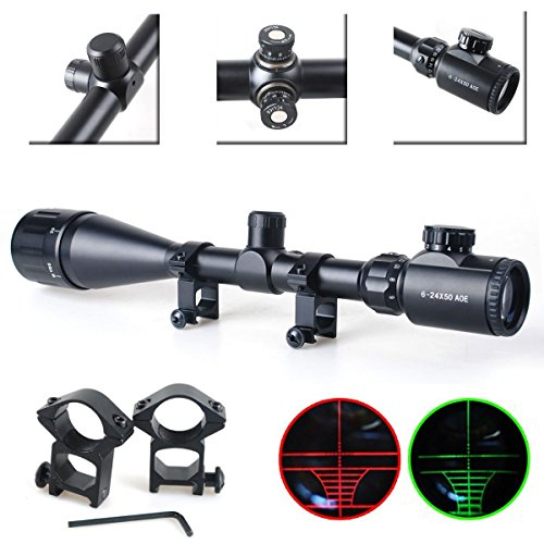 UUQ® 6-24X50mm AOEG Clarity+ Hunting Rifle Scope Red/Green Illuminated Mil-dot Crosshair Gun Scope With Free Mounts
