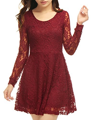 Allegra K Ladies Scoop Neck Long Sleeves Lace Mini Skater Dress Red M