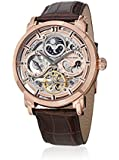 Stuhrling 371.03 Automatic Skeleton Dual Time AM/PM Indicator Leather Mens Watch