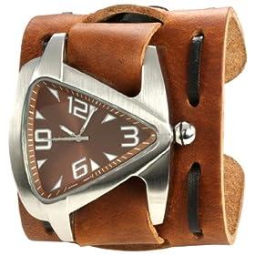 Nemesis Men's TBWXB011B Signature Stainless Steel Teardrop Brown Dial Leather Cuff Watch