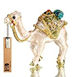 YUFENG Mini Figurine Trinket Boxes Ornament Crystals ,Hand-painted Patterns Jewelry Trinket Box Hinged Collectible Ring Display Holders for Women or Girl (camel trinket box)