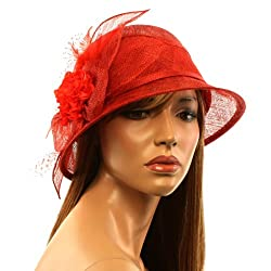 1920 Flapper Sinamay Flower Feather Net Cloche Bucket Bell Church Hat Cap Red