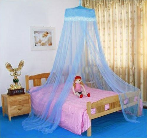 Housweety New Elegant Round Lace Curtain Dome Bed Canopy Netting Mosquito Net Blue